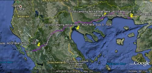Route durch Griechenland