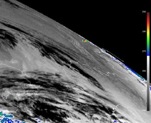 Der Wettersatellit Meteosat 10 zeigt, wie heiss er kurz nach dem Eintritt in die Erdatmosphäre war. (15. Februar 2013) Bild: EUMETSAT