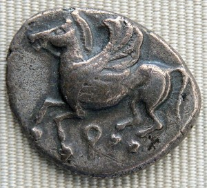 Q als Muenzzeichen von Korinth um 146 v.Chr.