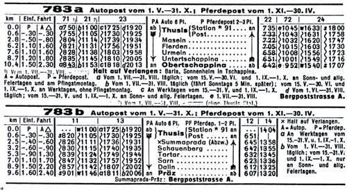 Sommer mit Postauto 1938 Winter mit Postkutsche
